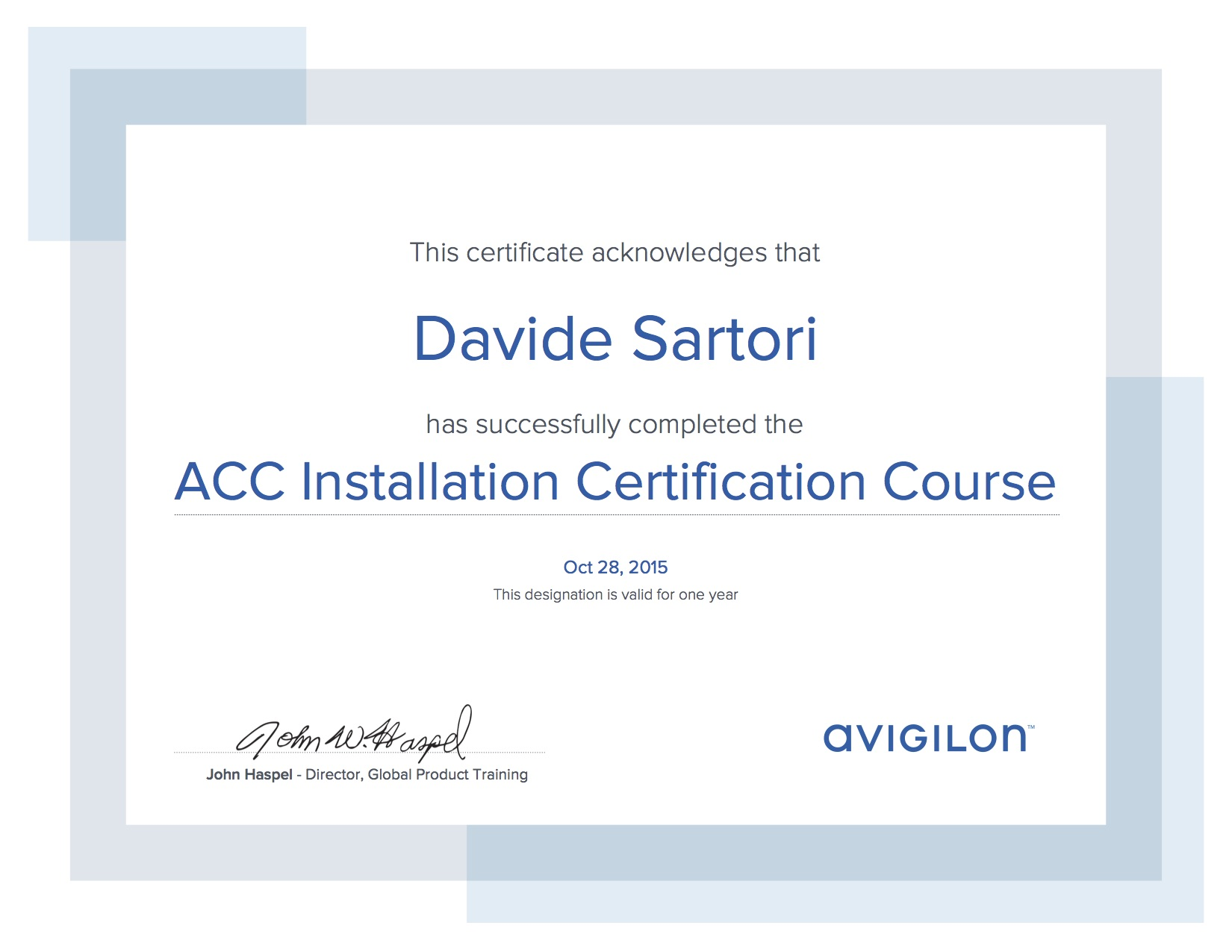 Avigilon Installation Certification