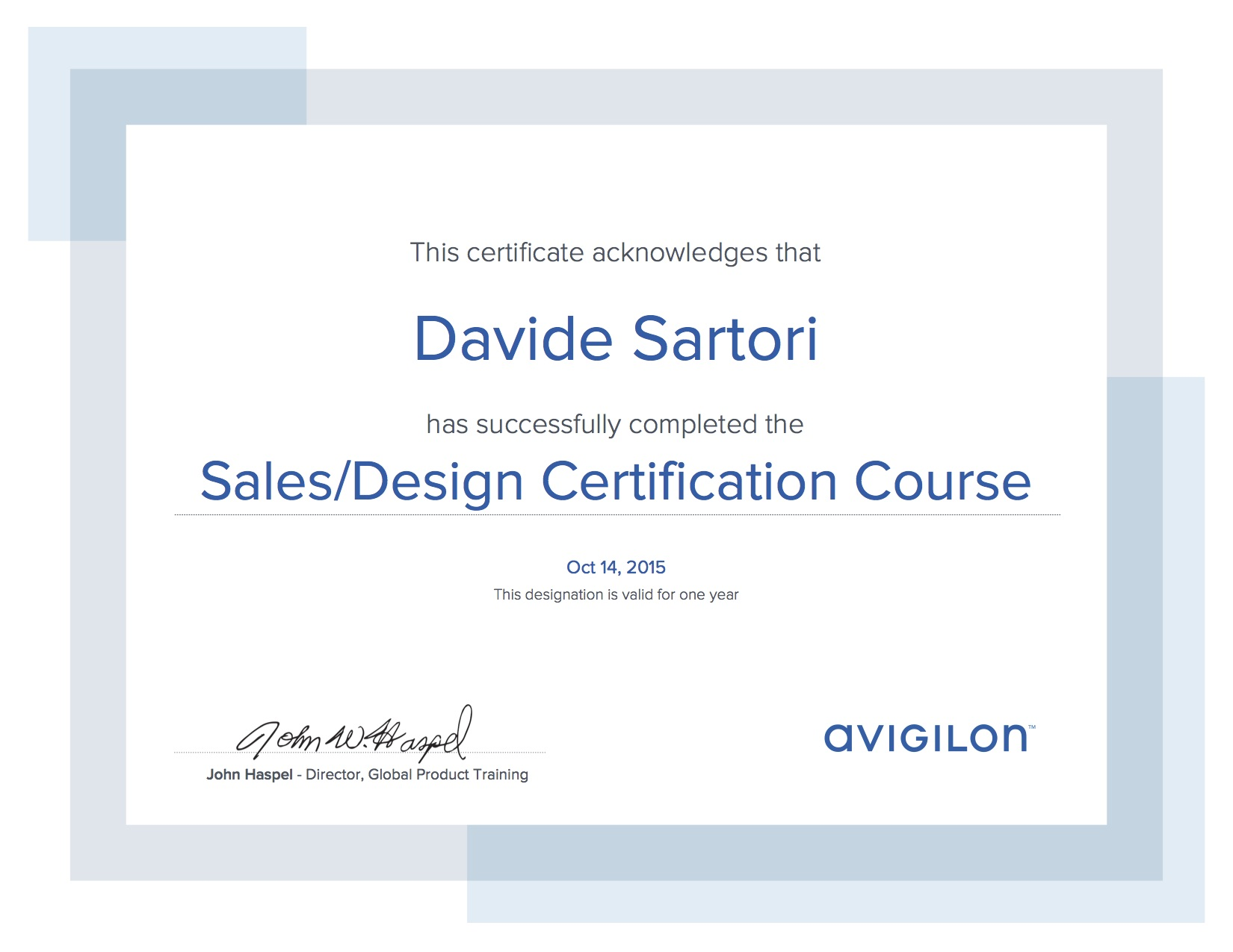 Avigilon Sales Design Certification