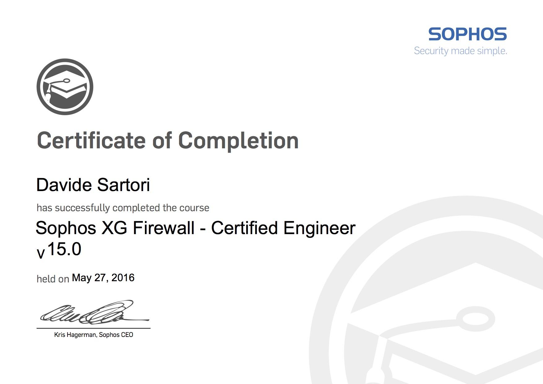 Sophos XG Firewall Certified Engineer