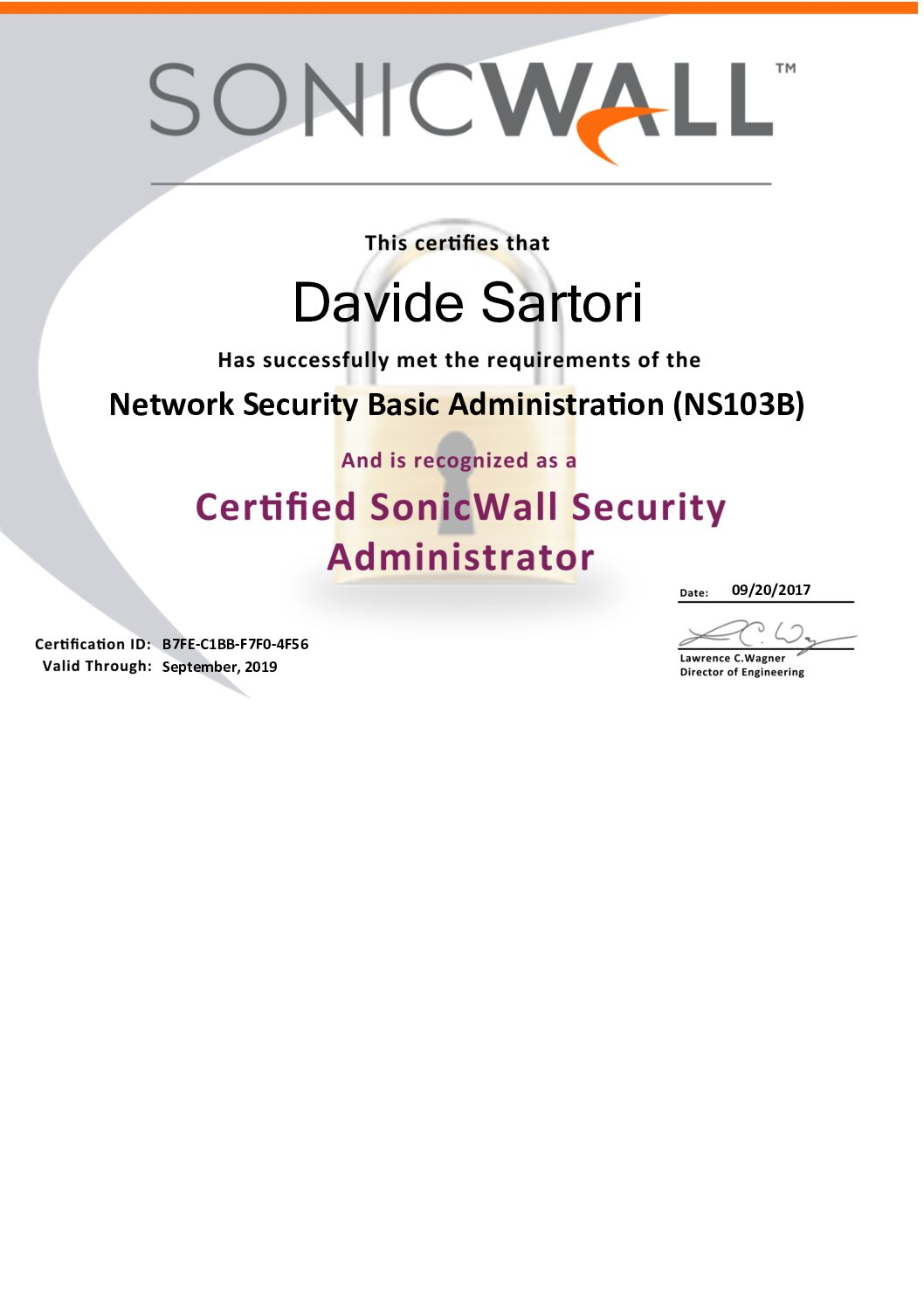 Sonicwall Certified Security Administrator